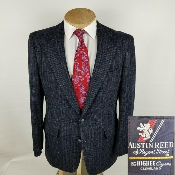 Austin Reed Other - Austin Reed Mens Sport Coat 38R Plaid Tweed Blue